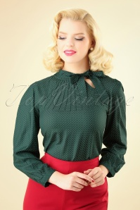 Pretty Vacant Pindot Blouse in Green 112 49 25191 20180822 0002W