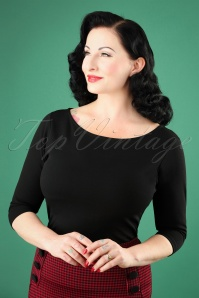 50s Bonnie Bodycon Top in Black
