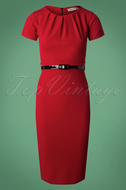 Rockabilly Dresses | Rockabilly Clothing | Viva Las Vegas 50s Valery Midi Pencil Dress in Lipstick Red £48.16 AT vintagedancer.com