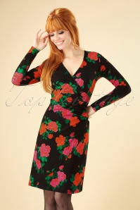 60s Buenos Aires Roses Dress in Black