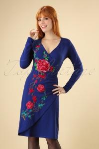Lien en Giel Cobalt Embroidery Floral Dress 100 30 25458 20180824 0002W