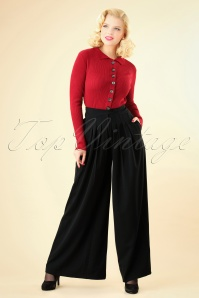 Miss Candyfloss Wide Leg Trousers in Black 26304 20180802 0002W