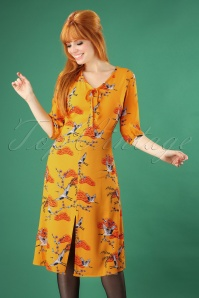70s Alice Birds Of Happiness Midi Dress in Sun Yellow