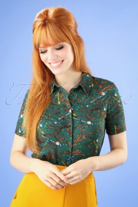 60s Daisy Wallpaper Blouse in Green
