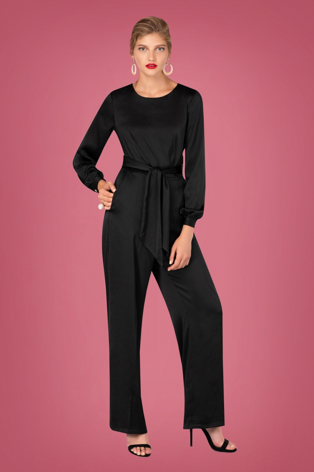 Vintage High Waisted Trousers, Sailor Pants, Jeans 70s Satin Puff Sleeve Jumpsuit in Black £114.19 AT vintagedancer.com