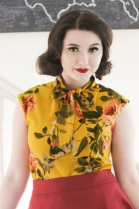 60s Floral Bow Top in Mustard