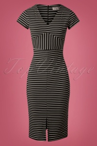 Vintage Chic Cap Sleeve Striped Pencil Dress 100 14 26601 20180926 0003W