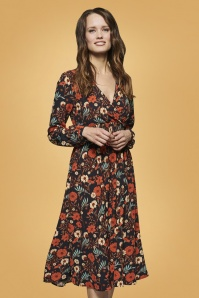 smashedlemon black and orange floral dress 108 14 25618 003