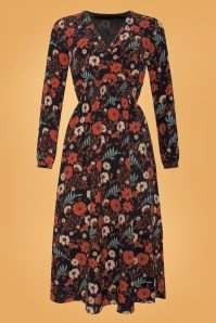 smashedlemon black and orange floral dress 108 14 25618 001