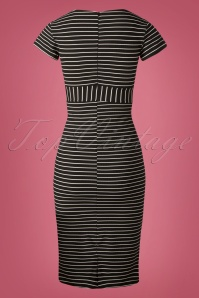 Vintage Chic Cap Sleeve Striped Pencil Dress 100 14 26601 20180926 0001W