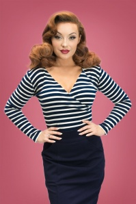 50s Joanna Top in Navy and White Stripes