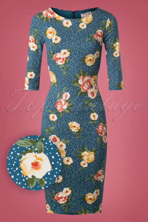 Vintage Chic Floral Pencil Dress in Teal 100 39 26453 20180926 0004W1