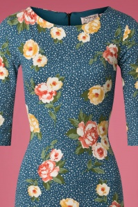 Vintage Chic Floral Pencil Dress in Teal 100 39 26453 20180926 0004WV
