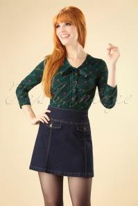 60s Lucie Denim Skirt in Ink Blue