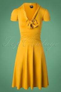 Retrolicious Mustard Bow Swing Dress 102 80 27532 20180927 0005W
