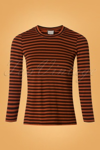 60s Jamie Stripes Top in Black and Rust