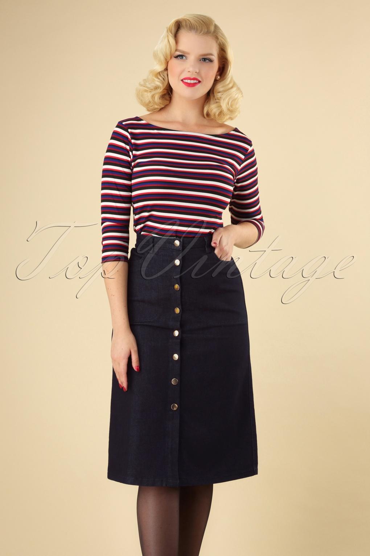 60s Skirts | 70s Hippie Skirts, Jumper Dresses 70s Nichole Button Denim Skirt in Dark Blue £61.25 AT vintagedancer.com
