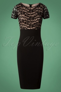 Vintage Chic Chunky Lace Black Nude Dress 100 10 26342 20180926 0004W