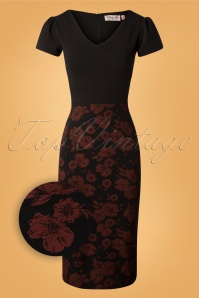 Vintage Chic Floral Black and Red Pencil Dress 100 14 27699 20180926 0003Z