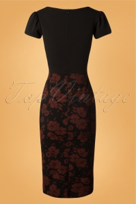 Vintage Chic Floral Black and Red Pencil Dress 100 14 27699 20180926 0001W