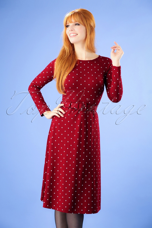 1960s Dresses | 60s Dresses Mod, Mini, Jakie O, Hippie 60s Let The Polkadots Dance Dress in Red £79.77 AT vintagedancer.com