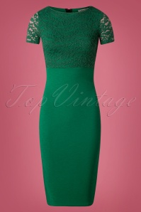 Vintage Chic Cap Sleeve Emerald Pencil Dress 100 40 26343 20180926 0004W