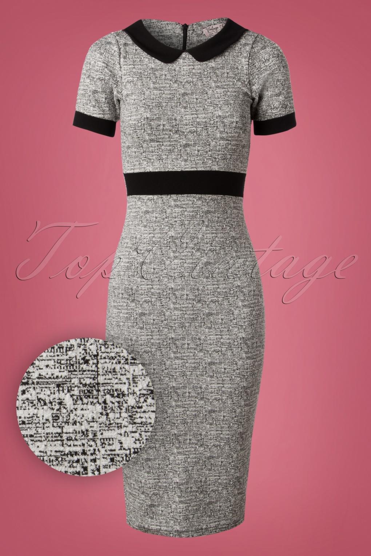 1960s Dresses | 60s Dresses Mod, Mini, Jakie O, Hippie 50s Patty Pencil Dress in Grey and Black Melange £57.07 AT vintagedancer.com