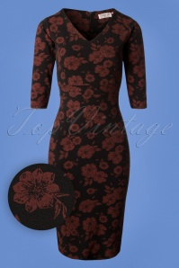 Vintage Chic Black Red Floral Pencil Dress 100 14 27718 20180927 0004W1