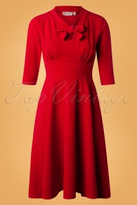 Vintage Chic Tie Neck Red Dress 102 20 26438 20180920 0007W
