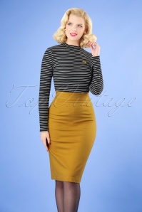 Very Cherry Pencil Skirt in Mustard 120 80 25673 20180815 0002W
