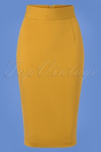 Classic Pencil Skirt Années 50 en Jaune Moutarde