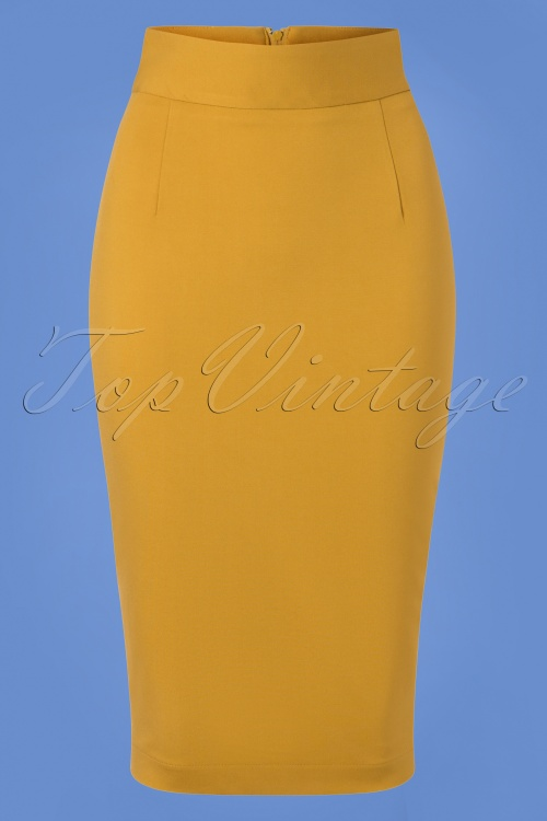 Very Cherry Pencil Skirt in Mustard 120 80 25673 20180815 0001W