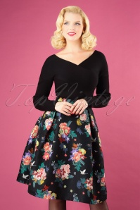 50s Botanical Jacquard Skirt in Black