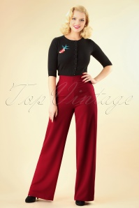 40s Marlene Pants in Deep Red