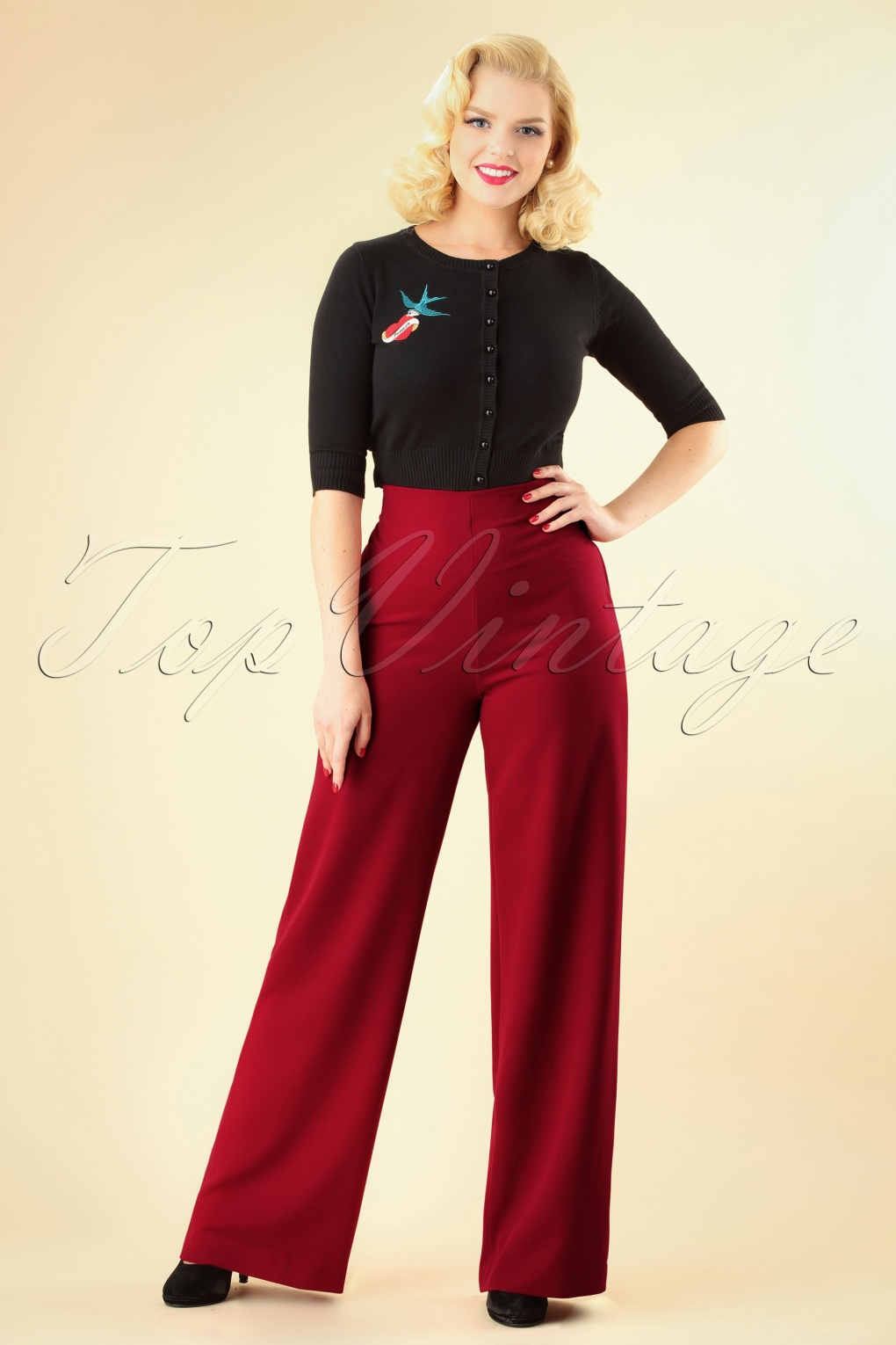 1940s Swing Pants & Sailor Trousers- Wide Leg, High Waist 40s Marlene Pants in Deep Red £83.60 AT vintagedancer.com