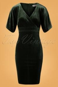 50s Viva Velvet Cross Pencil Dress in Sage Green