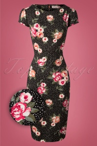 Vintage Chic Mayfair Black Floral Pencil Dress 100 14 26452 20180927 0004Z