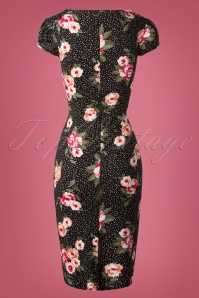 Vintage Chic Mayfair Black Floral Pencil Dress 100 14 26452 20180927 0002W