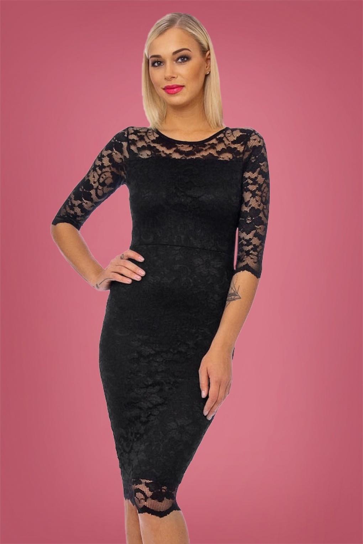 Rockabilly Dresses | Rockabilly Clothing | Viva Las Vegas 50s Jocelyn Lace Pencil Dress in Black £48.16 AT vintagedancer.com