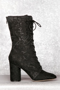 70s Racer Mesh Lace Boots in Black