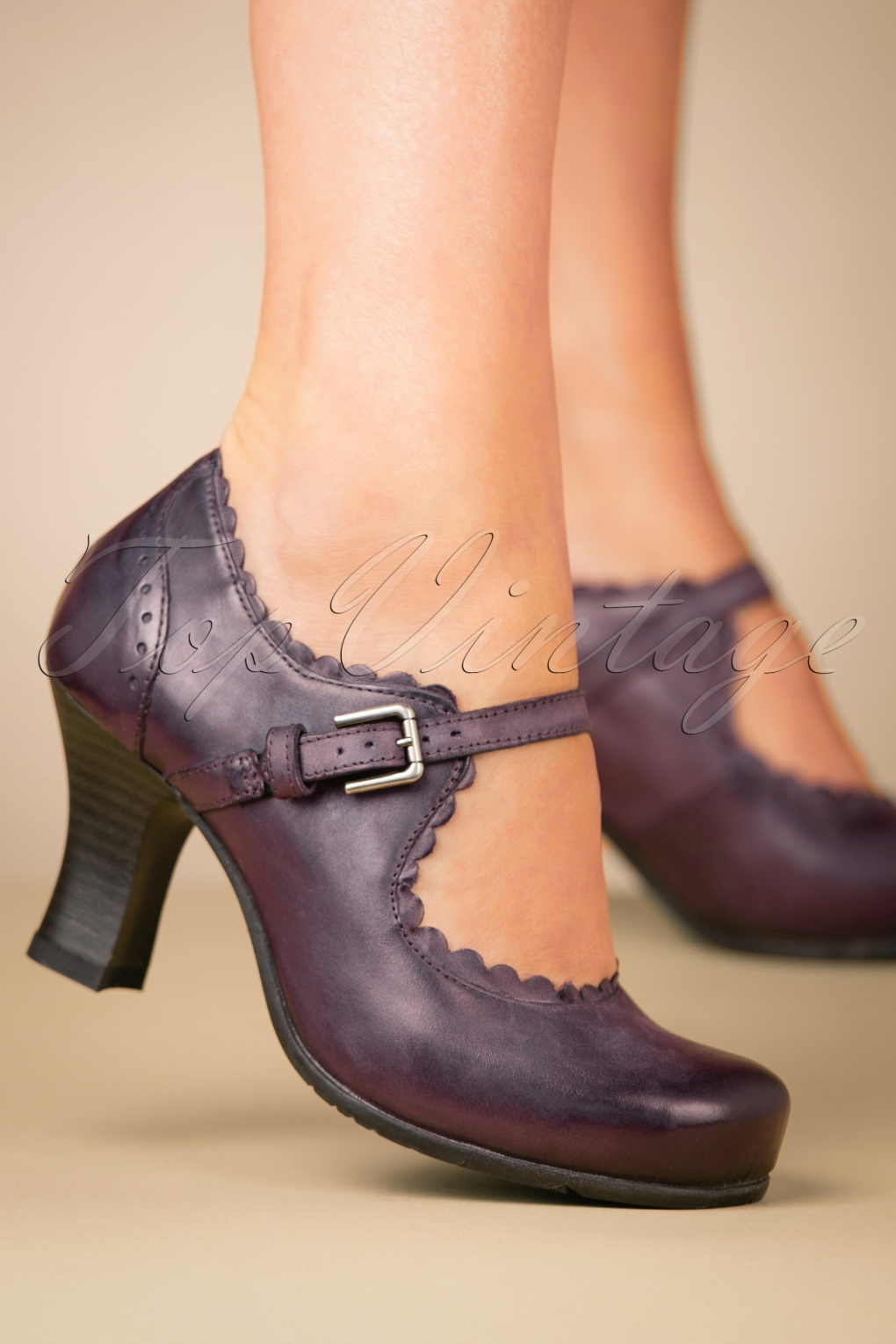 1940s Style Shoes, 40s Shoes 40s Barcelona Leather Mary Jane Pumps in Aubergine £123.86 AT vintagedancer.com