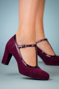 Tamaris T Strap Pump in Merlot 410 20 25776 model 08152018 002W