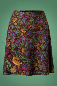 60s Leaf And Flower Skirt in Aubergine