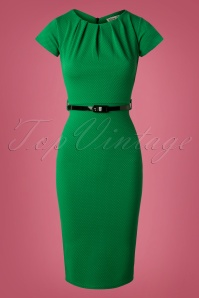 Vintage Chic Textured Fabric Emerald Green Pencil Dress 27371 20180927 0007W