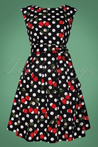 Smashed Lemon Black and White Polkadot Cherry Swing Dress 102 14 25608 1W