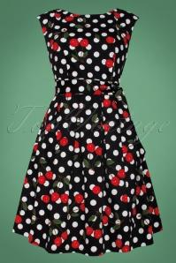 Smashed Lemon Black and White Polkadot Cherry Swing Dress 102 14 25608 1W