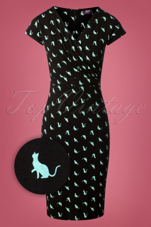 TopVintage Boutique Collection Pencil Dress in Cat Print 100 14 26939 20180928 0004Z