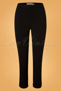 60s Jaylo Grosgrain Trim Trousers in Black