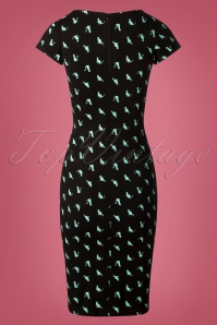 TopVintage Boutique Collection Pencil Dress in Cat Print 100 14 26939 20180928 0001W