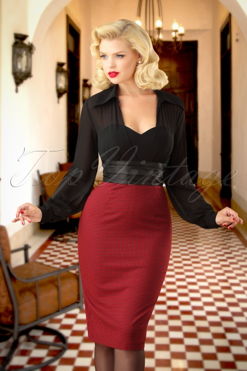 Vintage Diva Norma Pied de poule Pencil Dress  26367 20180618 0013 Optie 2W